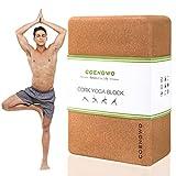 COENGWO Yoga Block Cork, Eco Friendly Yoga Block Hanstand Block, Supportive Balance Deepen Poses for Yoga Beginners, Stretch, Pilates, Meditation (one Block)