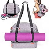 LUCKAYA Yoga Mat Tote Bag/Backpack: Multi Purpose Carryall Bag for Office,Yoga,Travel and Gym! Carry Your Mat of Any Size,Laptop and Gear in One Bag! … (Charcoal Grey)