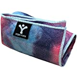 Sticky Grip Yoga Towel - Best Non-Slip Towel for Hot Yoga - Anti-Slipping, Sweat Absorbent Microfiber Towels with Silicone Grip Bottom for Standard & XL Sized Mats (Blue & Pink Tie Dye)
