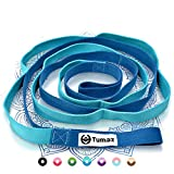 Tumaz Stretch Strap - 10 Loops & Non-Elastic Band - The Perfect Home Workout Stretching Strap for PT(Physical Therapy Strap), Yoga, Pilates - [Extra Thick, Durable, Soft - with Travel Bag]