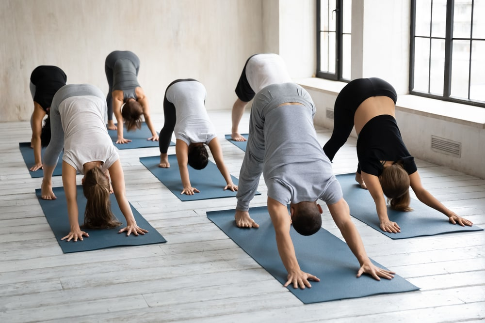 Yoga class doing downward facing dog